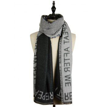 Vintage Letter Embroidery Fringed Shawl Scarf - BLACK ONE SIZE