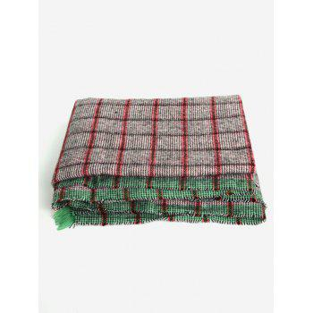 Soft Checkered Pattern Fringed Shawl Scarf - RED / GREEN / YELLOW ONE SIZE