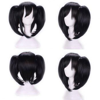 Short Side Bang Straight Pigtail Anime Love Live Yazawa Nico Cosplay Synthetic Wig - BLACK BLACK