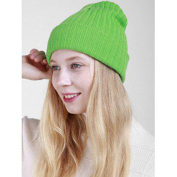 Flanging Plain Ribbed Knit Beanie -  GREEN