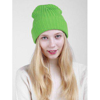 Flanging Plain Ribbed Knit Beanie - GREEN GREEN