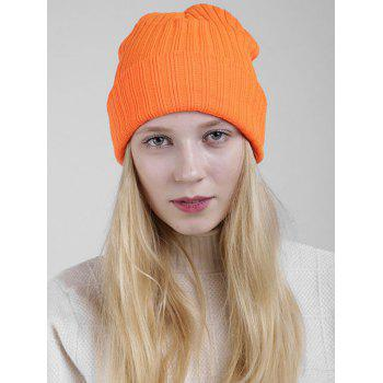 Flanging Plain Ribbed Knit Beanie - ORANGE ORANGE