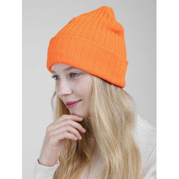 Flanging Plain Ribbed Knit Beanie -  ORANGE