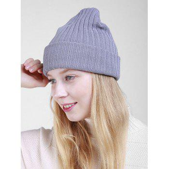 Flanging Plain Ribbed Knit Beanie -  GRAY