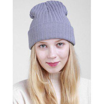 Flanging Plain Ribbed Knit Beanie - GRAY GRAY