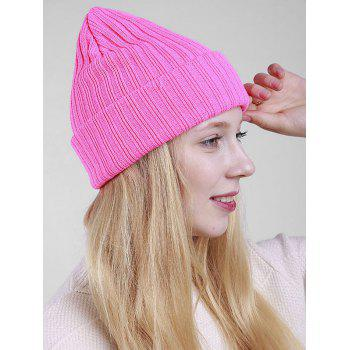 Flanging Plain Ribbed Knit Beanie - PINK
