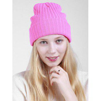 Flanging Plain Ribbed Knit Beanie - PINK PINK
