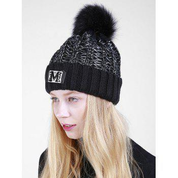 Letter Pattern Fuzzy Ball Embellished Flanging Knit Beanie - BLACK BLACK