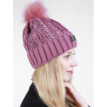 Letter Pattern Fuzzy Ball Embellished Flanging Knit Beanie -  PURPLE