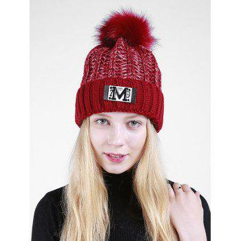 Letter Pattern Fuzzy Ball Embellished Flanging Knit Beanie - CLARET CLARET