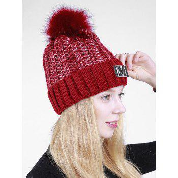 Lettre Fuzzy Embellished Flanging Knit Beanie - Clairet