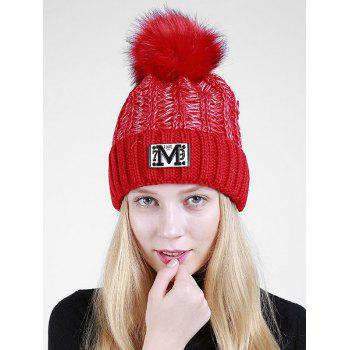 Letter Pattern Fuzzy Ball Embellished Flanging Knit Beanie - RED RED