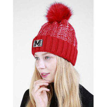 Letter Pattern Fuzzy Ball Embellished Flanging Knit Beanie -  RED
