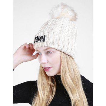 Letter Pattern Fuzzy Ball Embellished Flanging Knit Beanie - BEIGE