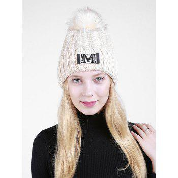 Letter Pattern Fuzzy Ball Embellished Flanging Knit Beanie - BEIGE BEIGE