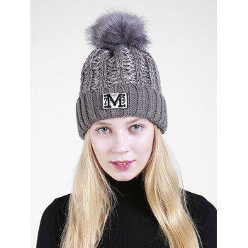 Letter Pattern Fuzzy Ball Embellished Flanging Knit Beanie - GRAY GRAY