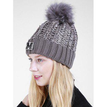 Letter Pattern Fuzzy Ball Embellished Flanging Knit Beanie - GRAY
