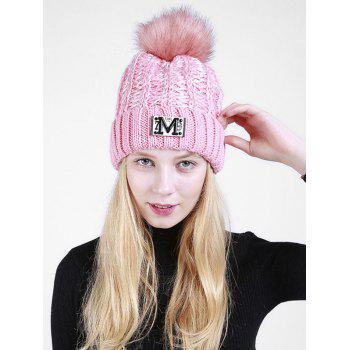 Letter Pattern Fuzzy Ball Embellished Flanging Knit Beanie - PINK PINK