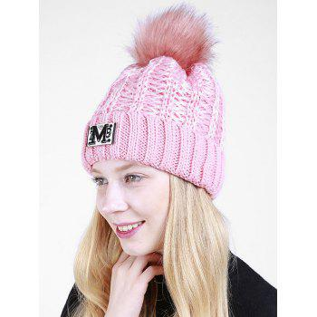 Letter Pattern Fuzzy Ball Embellished Flanging Knit Beanie -  PINK