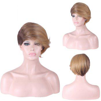 Short Side Fringe Straight Two Tone Synthetic Wig - COLORMIX COLORMIX