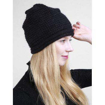 Wooden Button Embellished Crochet Knit Beanie -  BLACK