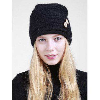 Wooden Button Embellished Crochet Knit Beanie - BLACK BLACK