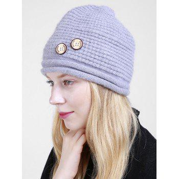 Wooden Button Embellished Crochet Knit Beanie -  GRAY