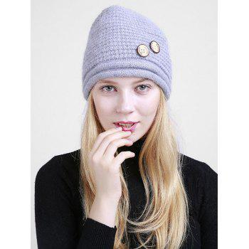 Wooden Button Embellished Crochet Knit Beanie - GRAY GRAY