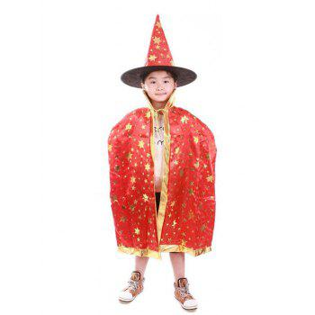 Halloween Party Cosplay Costume Wizard Witch Stars Cloak and Hat for Children - Rouge