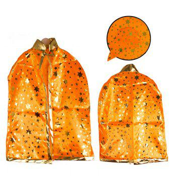 Halloween Party Cosplay Costume Wizard Witch Stars Cloak and Hat for Children - ORANGE ORANGE