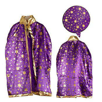 Halloween Party Cosplay Costume Wizard Witch Stars Cloak and Hat for Children - PURPLE PURPLE