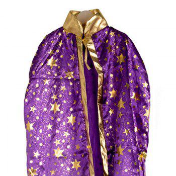Halloween Party Cosplay Costume Wizard Witch Stars Cloak and Hat for Children - Pourpre
