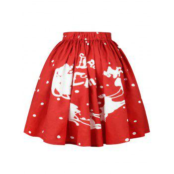 Christmas Polka Dot Sled Print Skirt - RED RED