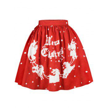 Christmas Polka Dot Sled Print Skirt - RED XL