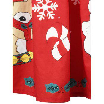 Christmas Elk Santa Claus Snowflake Print Skirt - RED M