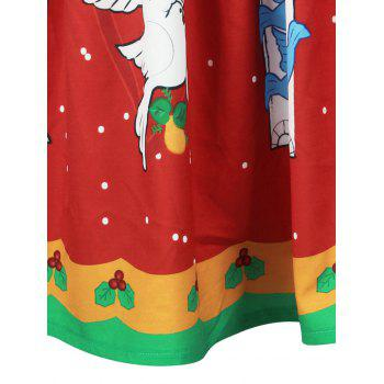 Christmas Bell Bird Print A Line Skirt - RED M