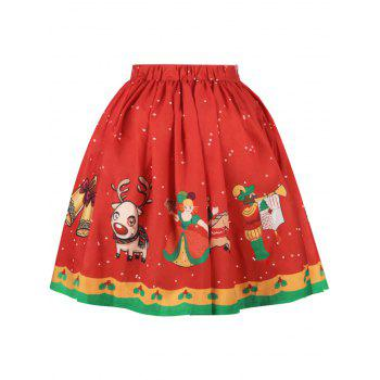 Christmas Bell Bird Print A Line Skirt - RED L