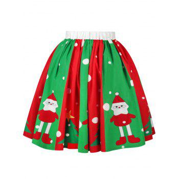 Christmas Snowman Tree Polka Dot Print Skirt - L L