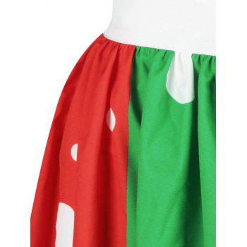 Christmas Snowman Tree Polka Dot Print Skirt - COLORMIX L