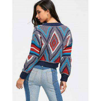 Crew Neck Puff Sleeve Argyle Cropped Sweater - multicolor ONE SIZE