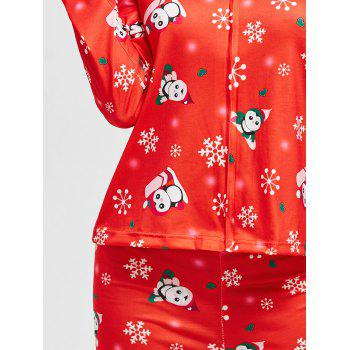 Christmas Snowflake Print Zip Pajamas Set - RED M