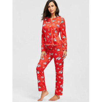 Christmas Snowflake Print Zip Pajamas Set - RED XL