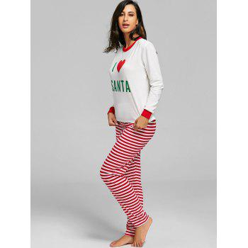 SANTA Print Christmas Striped PJ Set - RED M
