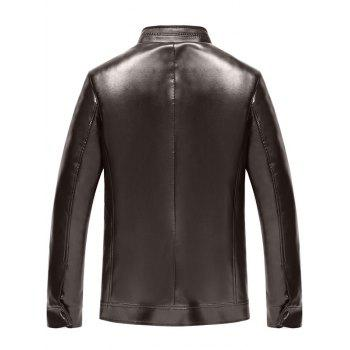 Badge Faux Leather Zip Up Jacket - Brun Foncé XL
