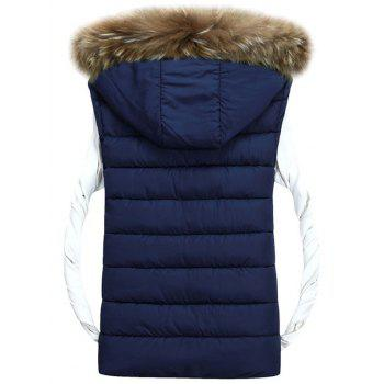 Zipper Up Detachable Hood Padded Vest - PURPLISH BLUE M