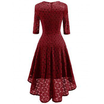Lace Crochet High Low Midi A Line Dress - WINE RED S