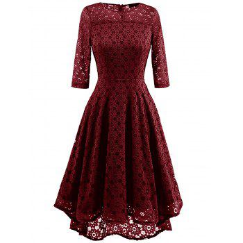 Lace Crochet High Low Midi A Line Dress - WINE RED WINE RED