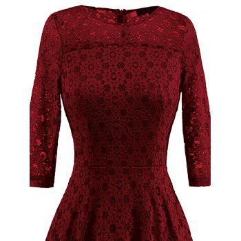 Lace Crochet High Low Midi A Line Dress - WINE RED XL