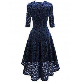 Lace Crochet High Low Midi A Line Dress - CERULEAN CERULEAN