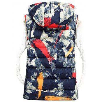 Zipper Up Hooded Camo Quilted Vest - DEEP BLUE L